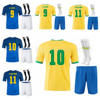 Jeunesse Néymar JR Jersey Socks Soccer Kids Coutinho Silva Dani Alves Neres Richarlison Jesus Fernandinho Casemiro Football Shirt Kits B-X