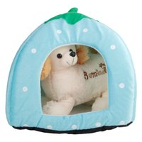 Soft Cotton Cute Strawberry Style Multi-purpose Pets Dog Cat House Nest Yurt Size L Light Blue