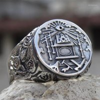 Anelli cluster Eyhimd Mens 316L Acciaio inox Acciaio inox ANELLO MARAMONICO Simbolo massonico per gli uomini Maschio Maschio Massoneria Cavalieri Templari Gioielli Jewelry Gifts1