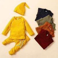Conjuntos de ropa Bunvel 3pcs Outfits Baby Girl Otoño Hat + Camisa de manga larga + Pantalones Niños Niños Niños Niños Set1 Set1