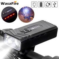 Велосипедная фара с боковым светом 1200 мАч USB аккумуляторная головная лампа MTB 2 * T6 LED ночной езда велосипедные огни 7 режимов