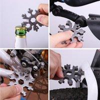 18 in 1 Snowflake Keyring 렌치 다기능 EDC 도구 휴대용 스테인레스 스틸 키 체인 병 오프너 스크류 드라이버 YYA540