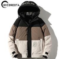 GoesResta 2020 Yeni erkek Moda Gelgit Marka Kalın Sokak Vahşi Kış% 90% Beyaz Kaz Aşağı Sıcak Ceket Ceket Erkekler