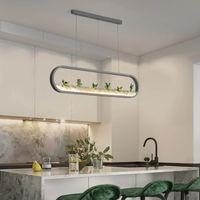 Moderne Mode Trapezförmige grüne Pflanze Hängende Lampe Retro Feld Stil Kreative Persönlichkeit Kronleuchter Küche Wohnzimmer Loft B
