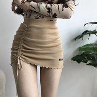 XIBANI Нерегулярное высокой талии упругой короткой юбке плотный пакет хип сторона drawcord трикотажное мини-юбка сексуальная мода улица 201111