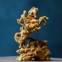 14cm Estátua de madeira Boxwood Cinzelando a Riqueza Deus Sorte Montando Guan Gong Home Decoração Feng Shui Fortune Town Home Decoração T200703