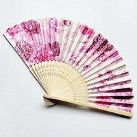 الصيف خمر الخيزران للطي باليد المعجبين النمط الصيني الحرير زهرة الطباعة الرقص حزب جيب الهدايا الملونة الزفاف العرض