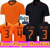 2020 Version joueur Pays-Bas Soccer Jerseys de Jong Wijnaldum Holland Kits de football Chemise Virgil Jersey Strotman Memphis Promes Hommes + K