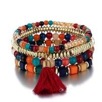 Bracelets Charm Bracelets Zoshi Boho Tassel Bears для женщин Летний Многослойный обертки браслет набор браслетов для браслета