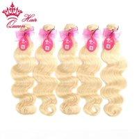 Queen Hair Products Menschliches Haar Körper Weben Blondes europäisches Haar 5 stücke Lot 613 # Heißer Verkauf12-24inch DHL Schneller Versand