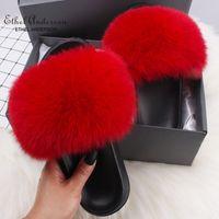 Ethel Anderson Real  raccoon Fur Slippers Slides Women's Cozy Flip Flops Casual Fluffy Fur Sandals Flat Shoes Q0508