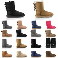 deportes de nieve botas de castaño de Australia mujeres botas para la nieve marrón rosado azul marino de la moda negro corto clásico botín para mujer zapatos de