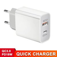US EU UK AU Plug QC 3.0 PD 18W for iPhone 12 Quick Charger Type-C USB Dual Ports Fast Safety Charging Adapter Wall Charger for Tablets