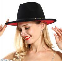 Yeni Sıcak Unisex Düz Brim Yün Keçe Fedora Şapkalar Kemer Kırmızı Siyah Patchwork Caz Resmi Şapka Panama Kapağı
