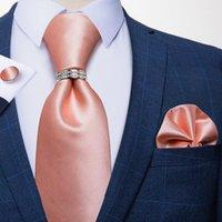 Yay bağları 8 cm erkek ipek kravat moda pembe katı kravat mendil takım elbise iş düğün resmi gömlek aksesuarları DIBUG1