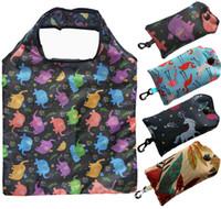 Многоразовый Бакалея сумок Складная Продуктовые Сумки Магазины Tote Сумка умещается в карман Эко дружественных Washable Прочный и легкий HHA2103
