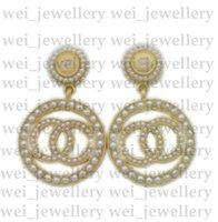 Hoge Kwaliteit C Letter Designer Oorbellen Voor Dames Mode Rhinestone Pearl Stud Earring Sieraden Geschenken Gouden Groothandel