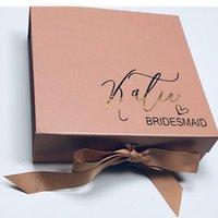 Caixa de presente de ouro da proposta de dama de honra personalizada, caixa de presente da dama da dama de honra da folha de ouro, cutom agradece-lhe o dia do casamento da caixa presente para o partido nupcial1
