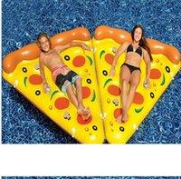 에어 매트리스 수영장 물 장난감의 한 노란색 풍선 피자 슬라이스 부동 침대 뗏목 수영 링 피자 매트리스를 수레