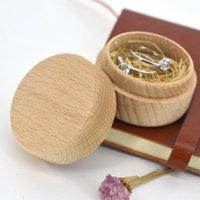 Woodiness Jewelry Case Kleiner Rundring-Speicher Hochzeitsbedarf Geschenkbox Vintage Glatte empfindliche Container Heißer Verkauf 6 5MT F2