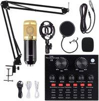Bundle microfono condensatore, kit mic-800 BM-800 con scheda audio dal vivo, braccio a forbice di sospensione a microfono regolabile, montaggio di shock in metallo