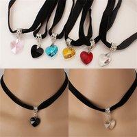 Aşk Kalp Şeklinde Kolye Kolye Zincir Kristal Dantel Basitlik Çok Renkli Kadın Adam Moda Aksesuarları Chokers 0 99ly K2