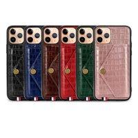 Tarjeta de lujo ranura tirón de la carpeta para Iphone 11 Pro XR XS MAX 7 8 Plus textura del cocodrilo del cuero de la piel cubierta de la caja Volver