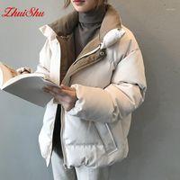 Zhuishu Winterjacke Frauen Streetwear Polyester Reißverschluss Gerade Feste Farbe Baumwollmantel Warme Femme Mantel Schwarz Damenbekleidung1