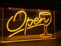 LB536- Script Open Glass Cocktails Bar LED Neon Light Sign Home Decor Crafts1