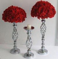 IMUWEN Altın / Gümüş Çiçekler Vazolar Mumluklar Yol Kurşun Masa Centerpiece Metal Düğün Dekor için Metal Standı Candlestick LJ201018