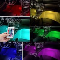 4x 9 LED 자동차 다채로운 RGB 빛 인테리어 바닥 분위기 램프 스트립 리모콘 자동차 스타일링 유니버설 장식 빛