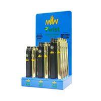 Maw Twist Battery Kit 3.3-4.8 V Preriscaldare la tensione variabile di preriscaldamento con scatola di visualizzazione 24pcs 650 900 1100mAh Fit Cartridges Pod