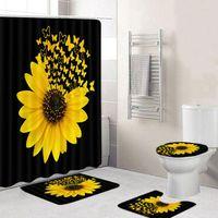 Borboleta de girassol Imprimir cortina de chuveiro impermeável cortina de banheiro toalete esteira antiderrapante tapete conjunto de banheira decoração