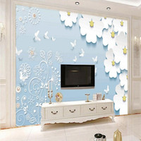 Drop Shipping Custom Mural Stereo Daisy 3d Continental Background Wall Mural Bedroom Hotel Wallpaper Living Room Wallpaper1