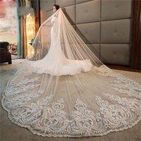 Real Photo 3M белые свадебные вуали собор двухслойных кружева аппликация длинные свадебные завесы с гребенью женщина женятся подарки 2021 аксессуары для волос