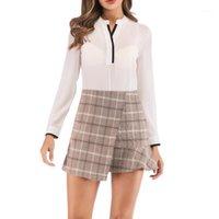 Saias Jaycosin Mulheres Saia Senhora Moda Cintura Alta Cintura Manta Lattice Impressão A-Linha Mini Tênis Faldas Mujer Moda Elegante1