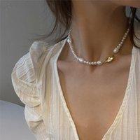 2020 Новая Корея ретро Элегантное ожерелье Нерегулярные металла перлы пресной воды Choker ключицы цепи для женщин Девочки Ювелирные подарки