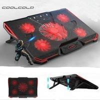 Laptop Cooler Cooling Pad refroidi à l'air 5 ventilateurs LED 2 Ports USB Stand Support réglable pour tablette 10-17 pouces pour ordinateur portable - intl