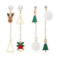 여성 여자를위한 비대칭 술 크리스마스 트리 벨 스터드 귀걸이 크리스마스 공 귀걸이 크리스마스 의상 쥬얼리