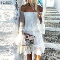 Moda Seksi Kapalı Omuz Dantel Elbise ZANZEA 2020 Kadın Sundress Casual fırfır Vestido Kadın Beyaz Robe Artı boyutu Yaz Elbise