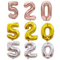 헬륨 공기 풍선 비행 번호 모양의 골드 실버 장미 풍선 ballons 생일 결혼식 장식 이벤트 파티 40 인치 zyy424