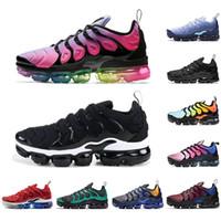 Vapormax plus tn TN de los zapatos corrientes Hombres Mujeres blanco negro Hyper Violeta Juego Real azul claro actual Chaussures Bred transpirables zapatillas de deporte