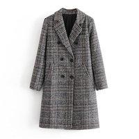 BLSQR misto lana tweed inverno cappotto Maglia a manica lunga elegante femmina Outwear Blazers 2020 Autunno Inverno Streetwear Coat