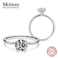 Modian Köpük 1.0ct Moissanite Kadınlar Için 925 Ayar Gümüş Parmak Yüzük Klasik Düğün Band Nişan Bildirimi Takı Y0122