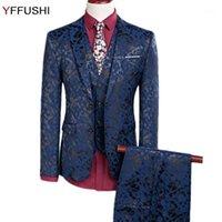 Trajes para hombres blazers yffushi 2021 hombres traje marino one botón floral 3 piezas moda jacquard stxedo boda para Slim Fit1