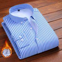 Aoliwen marca homens moda camisa de pelúcia flannel lã forro listrado camisas casuais de inverno masculino camisa quente macio não encolhendo Slim1