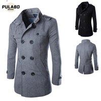 الرجال الشتاء الصوف معطف الرجال جديد جودة عالية بلون بلون بسيط يمزج الصوف البازلاء معطف الذكور خندق عارضة معطف 20201