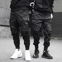 2021 Hip Hop Boy Multi-poche Taille élastique design Harem Pantalon Homme Streetwear Punk Puissard Pantalon Jogger Homme Dancing Noir Pant