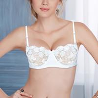 YANDW blanc Floral Mesh Lace Bralette Bras pour les femmes lingerie sexy Plonger mince push-up transparent 32 34 36 38 40 42 44 A B C D