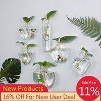 Wandbehang Glas Blume Vase Aquarium Aquarium Container Hydroponische Topfpflanze Blumentopf Hochzeit Garten Home Decoration1